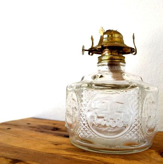 clear glass oil lamp base brass fitting vintage lamplight farms. Black Bedroom Furniture Sets. Home Design Ideas