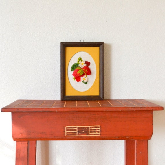 1970s Embroidered Strawberry Picture Wood Frame