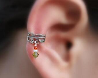 Sterling Silver Ear Cuff - Feather - Pearl-Carnelian-Swarovsky Crystal Ear Cuff - Conch Cuff