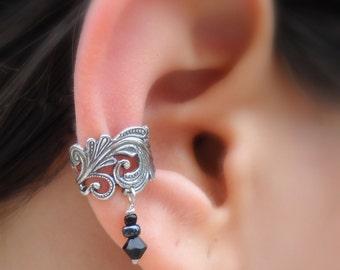Sterling Silver Ear Cuff - Lace - Swarovsky Crystal Ear Cuff - Non Pierced - Conch Cuff