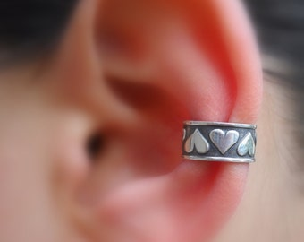 Sale - Ear Cuff - Sterling Silver - Silver Heart Ear Cuff - Non Pierced - Conch Cuff