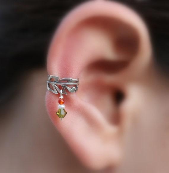 sterling silver ear cuff feather pearl carnelian swarovsky. Black Bedroom Furniture Sets. Home Design Ideas