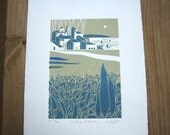 Coastal Italian Village Print - Sea View with Boats,Olive green and Teal ,Rare Limited Edition