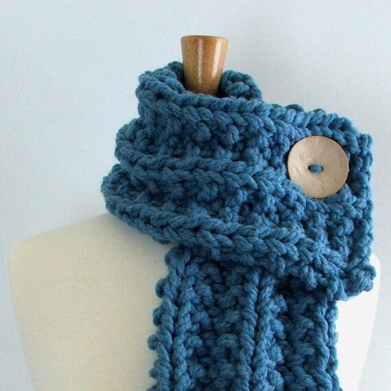 Chunky Knit Sky Blue Cowl Scarf with Large Cream Button
