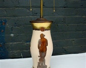 Antique Table Lamp Reverse Painted Glass, Decoupage Grecian Figures