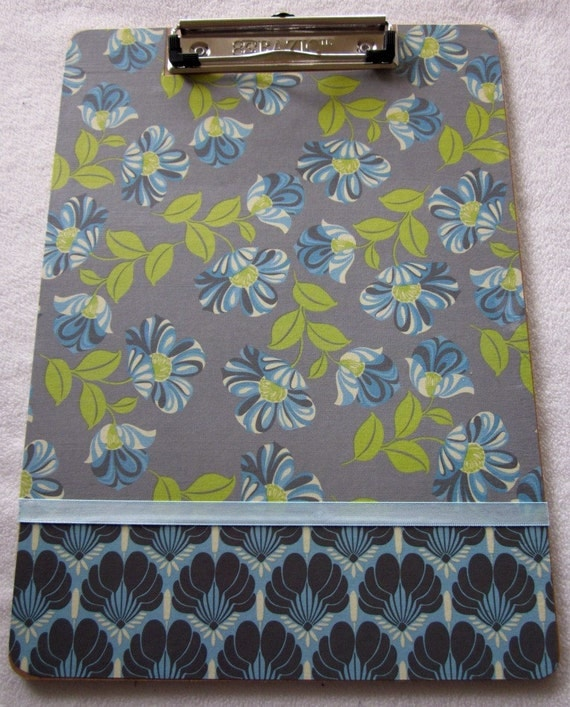Amy Butler Floral Blue Clipboard