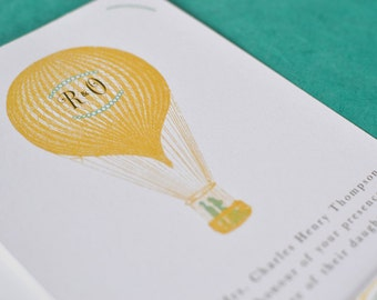 Vintage Destination Wedding Invitation : Monogram Hot Air Balloon Suite - Floating Zeppelin (5 pieces)