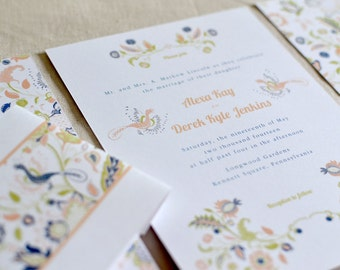 Custom Wedding Invitation Package: Floral Harmony - 5 pieces (Invitation, RSVP, matching Envelopes & Bellyband) Woodland, Rustic Wedding