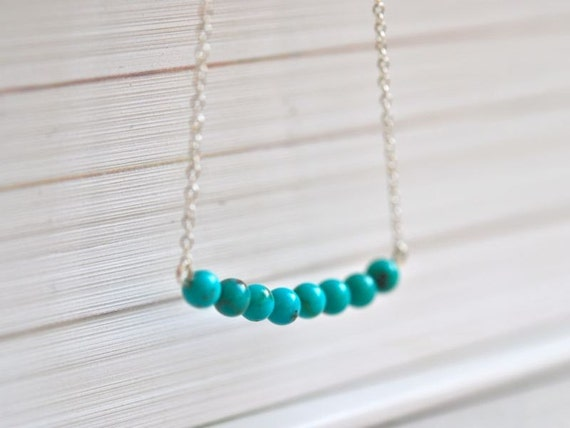 Turquoise Beaded Bar Silver Necklace