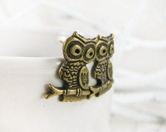 Owl Stud Earrings for her - Owl Post Earrings - Bronze Earring studs - Woodland Earrings - Tiny Owl Earrings - Small Earrings for women