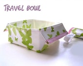 Travel Dog Bowl, foldable water bowl, dog dish, pets, white, green, oilcloth