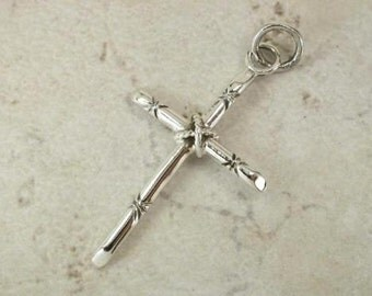 Sterling Rope Crucifix Religious Pendant on Black Cord