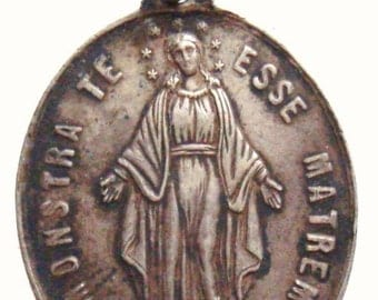 """French Virgin Mary Vintage Sterling Jewelry Religious Medal Pendant on 18"""" sterling silver rolo chain"""