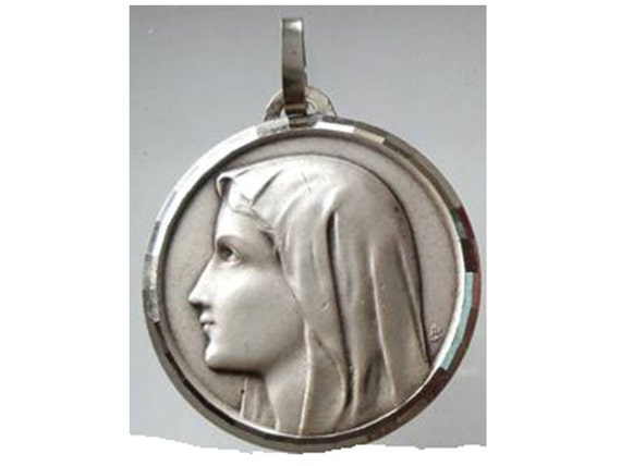"""Virgin Mary Vintage Jewelry Religious Medal Pendant on 18"""" sterling silver rolo chain"""
