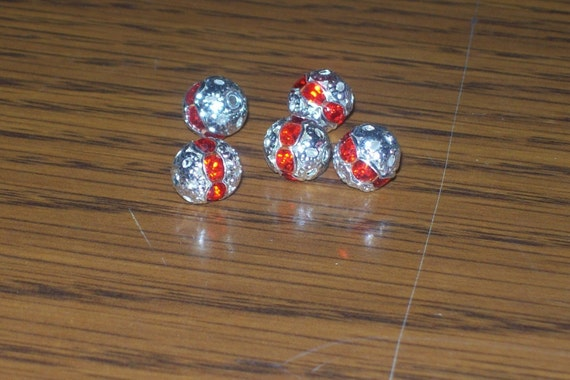 6 Red Crystal Rhinestone Spacer Round Ball Bead 8mm ...