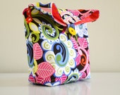 Colorful Swirls Pouch /  lunch bag / cosmetic and travel case/ snack pouch