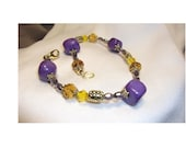 Purple Gemstone and Gold Crystal Bracelet, Egyptian Princess