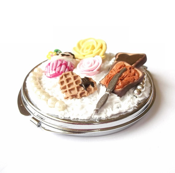 Compact Mirror Food Miniatures, Chocolate and Peanut Butter Toasts, Waffle, Raspberry Cupcake and Roses, Polymer Clay