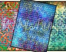 Grunge Texture - 9 Digital ACEO Images - Printable Digital Collage Sheet
