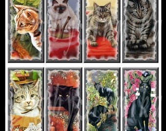 Digital Collage of Cats - 30 1x2 Inch JPG images