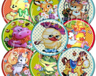 Cute little animals - 20 2x2 Inch JPG and PNG images - Digital Collage Sheet