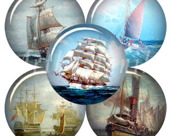 Digital Collage of  Illustrations of ancient ships and sailboats  - 63 1x1 Inch Circle JPG images