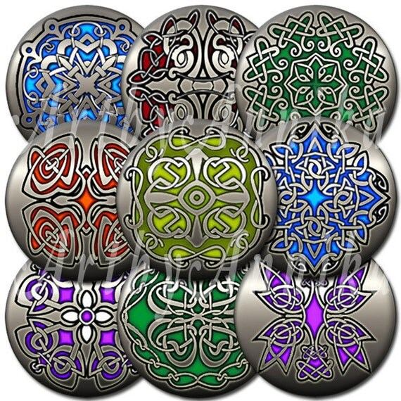 Digital Collage of Celtic characters - 35 1.3/8 Inch Circle JPG images - Digital Collage Sheet