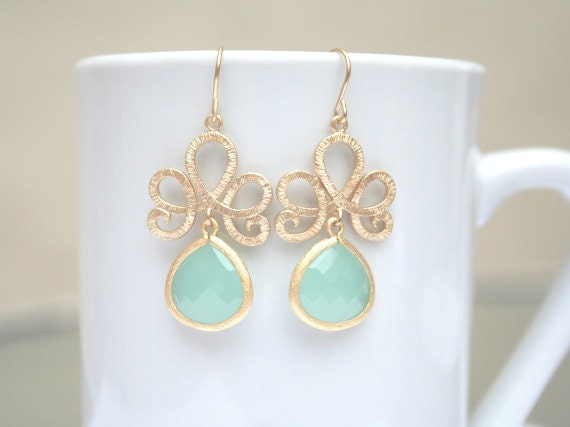 Mint Earrings in Gold. Gold Swirl Earrings. Gold Lotus Earrings. Bridesmaid Earrings. Wedding Earrings. Bridesmaids Gifts. Bridal Jewelry.