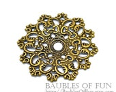 Filigree : 10 Antique Bronze Filigree Flower Wraps / Connectors / Brass Filigree Metal Stampings ... Lead, Nickel & Cadmium Free 16286.N
