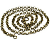 Necklaces : 10 Antique Bronze  Rolo Link Chain Necklaces with Lobster Clasp ... 20 inches -- Lead & Nickel Free 14110