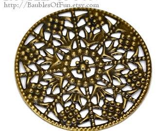 Filigree : 10 Antique Bronze Filigree Round Metal Jewelry Stampings   Brass Connectors   Focals -- Lead, Nickel & Cadmium free 14282.M