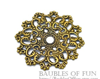 Filigree : 10 Antique Bronze Filigree Flower Wraps / Connectors / Brass Filigree Metal Stampings -- Lead, Nickel & Cadmium Free 16286.N