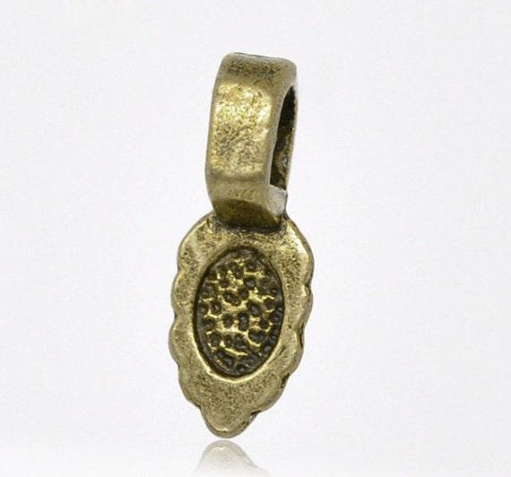 Bails : 25 Antique Bronze Teardrop Bail | Brass Ox Small Leaf Glue On Jewelry Bail ... 16mm x 6mm -- Lead, Nickel & Cadmium Free 3357.C32