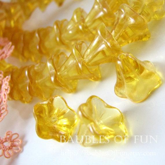 Glass Beads : 20 Golden Yellow Glass Flower Beads | Flower Bell Beads | Morning Glory Flower Beads ... 12mm x 10mm