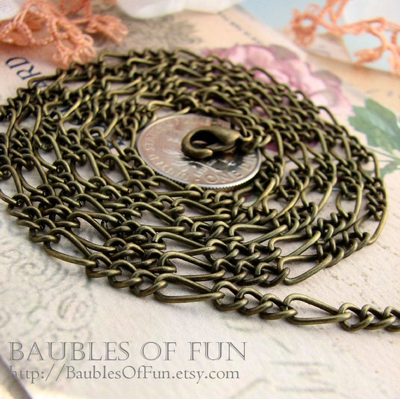 Chain Necklaces - 10 Antique Bronze / Brass Ox Figaro Open Link Chain Necklaces with Lobster Clasp ... 30 inches M005.30