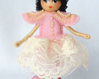 Bendy Doll Girl, Bendable Figure, Pink Pearls and Lace, Halfpenny Collectible Figure, Custom Option