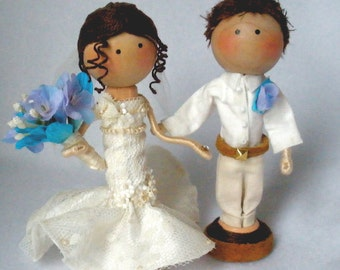 Wedding Clothespin Art Dolls,  Bride and Groom Cake Topper,  Custom Options, Pegtales Love Reality