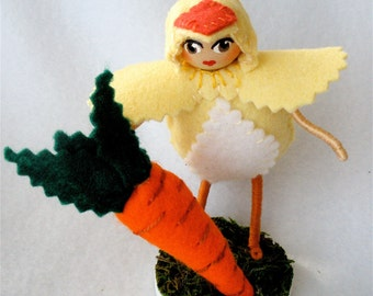 Easter Chick Bendy Doll, Bendable Art Doll Figure, Girl in Chick Clothing, Spring Decor Chicks with Carrots II
