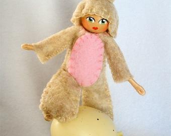 Bunny Bendy Doll, Bendable Halfpenny Doll,  Rabbit Costume,  Bunnies and Eggs II