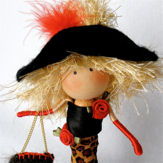 Fashion Art Doll, Clothespin Doll,  Fashionista Peg Doll, Girlfriend Gift,  Leopard Dress,  Red Feather Boa,  Pegtales Style is Eternal