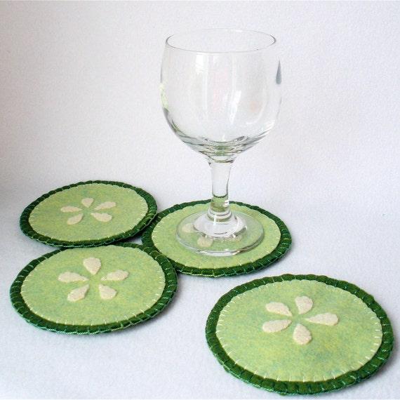 Felt Cucumber Coasters MugMats Set of Four