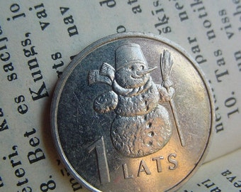 SNOWMAN Coin for Luck - Jewelry Making - Scrapbooking - Original Presents - Supplies - Collectibles Coin - Numismatics