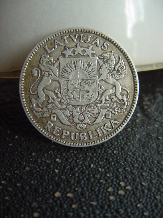 1924 ANTIQUE 1 Lat Silver Coin for collection, supply, jewelry, gift