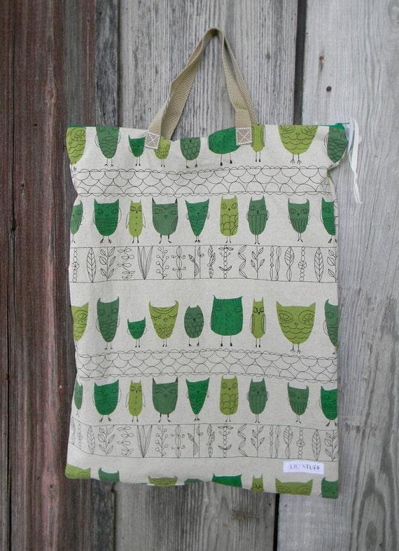 X-Large Hanging Wet Bag for Diaper Pail Zipper Top Echino Japanese Fabric