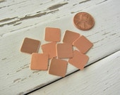 "24g - 1/2"" COPPER Squares - Pack of 12 - Metal Blank for Hand Stamping -  Hand Stamped Jewelry Making - Copper Square Blank"