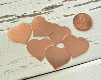 "SALE - Copper Heart 13/16"" X 7/8"" - 24g - Pack of 6 - Hand Stamping Blank - Metal Stamping Blank for Hand Stamped Jewelry - Jewelry Blank"