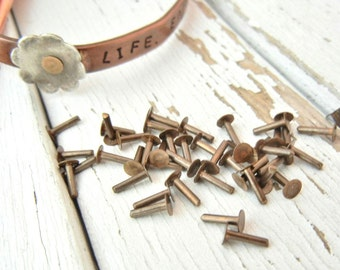 """1/4"""" OXIDIZED Brass NAIL HEAD Rivets - Pack of 40 - Riveting Supply - Cold Connection - Finding"""