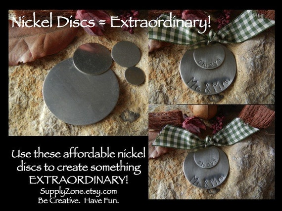 """1.25"""" -  20g  Nickel Silver Disc - Pack of 3 - Metal Blank for Hand Stamping - Stamping Blank"""