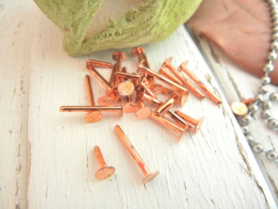 """1/4"""" Copper Nail Head Rivets.  Pack of 100. Riveting Supply."""