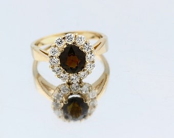 Natural IF Brownish yellow Tourmaline Solid 14K Yellow Gold Diamond Ring